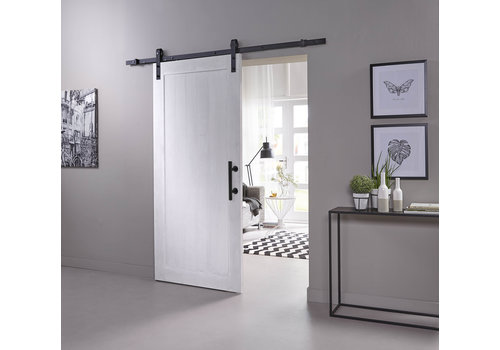 DIY sliding door Legno 2115x930x38mm MDF white primed + black hanging system Basic incl. Handle / sliding door bowl