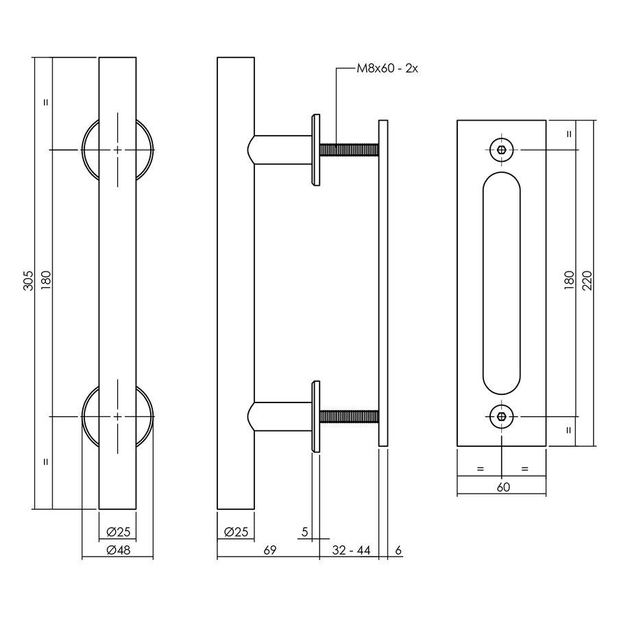 DIY schuifdeur Legno 2115x930X38mm massief MDF wit gegrond + zwart ophangsysteem Basic incl. greep/schuifdeurkom