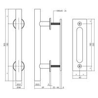 Zwarte deurgreep T-vorm Ø 25x305mm met schuifdeurkom 220mmx60mm