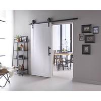 DIY sliding door Legno 2115x930X38mm solid MDF white primed + black hanging system Wheel incl. Handle / sliding door bowl