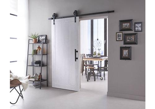 DIY porte coulissante Legno 2115x930x38mm MDF blanc apprêté + système de suspension noir Roue avec poignée / cuvette de porte coulissante
