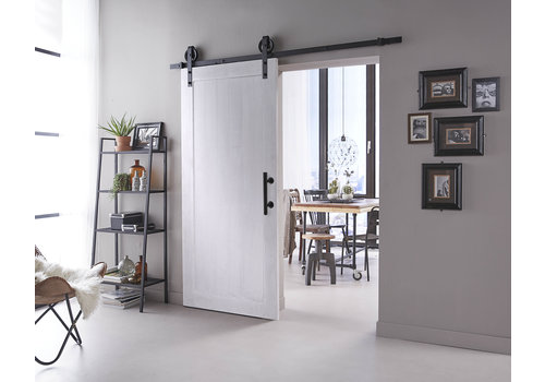 DIY sliding door Legno 2115x930x38mm MDF white primed + black suspension system Wheel incl. Handle / sliding door bowl