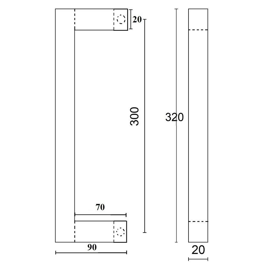 DEURGREEP SQUARE D20/300MM ZWART PAAR VOOR GLAS