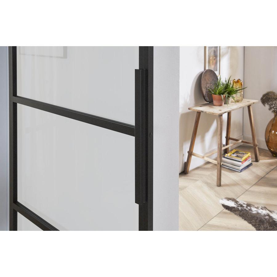 DIY SLIDING DOOR CUBO BLACK INCL. MATT GLASS 2150X980X28MM + BLACK SUSPENSION SYSTEM BASIC