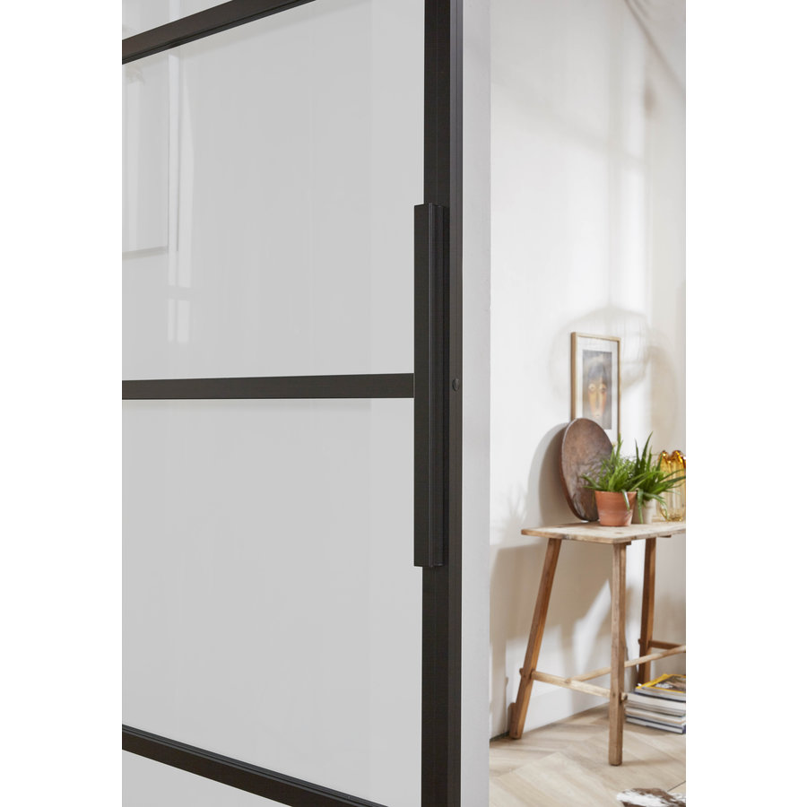 Intersteel DIY-schuifdeur Cubo zwart incl. matglas 2150x980x28mm met zwart ophangsysteem Basic