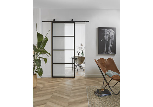 DIY SLIDING DOOR CUBO BLACK INCL. TRANSPARENT GLASS 2150X980X28MM + BLACK HANGING SYSTEM BASIC TOP