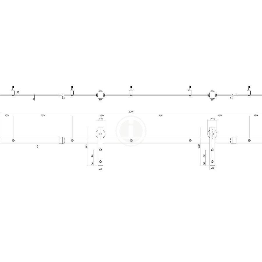 DIY-SCHUIFDEUR CUBO ZWART INCL. MAT GLAS 2150X980X28MM + ZWART OPHANGSYSTEEM BASIC TOP