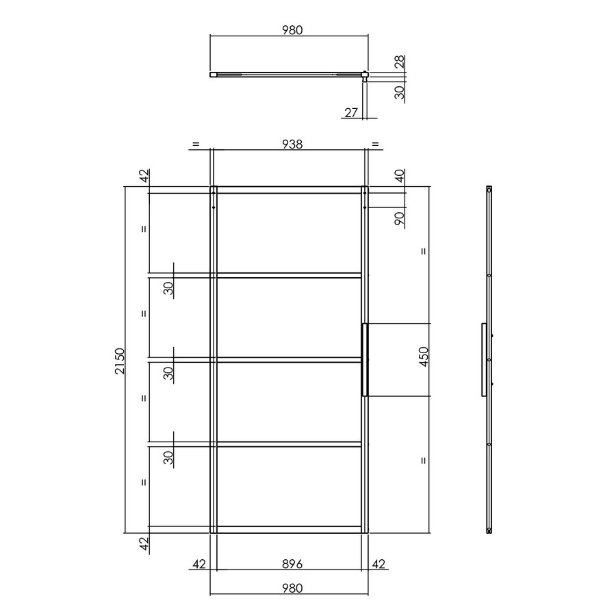 DIY SLIDING DOOR CUBO BLACK INCL. MATT GLASS 2150X980X28MM + BLACK HANGING SYSTEM BASIC TOP