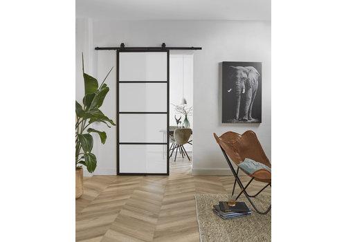 DIY porte coulissante cubo noir avec verre transparent 215x980x28mm avec système de suspension noir basic top