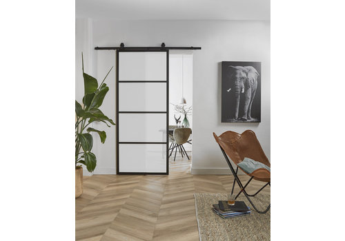 DIY SLIDING DOOR CUBO BLACK INCL. MATT GLASS 2150X980X28MM + BLACK HANGING SYSTEM BASIC TOP