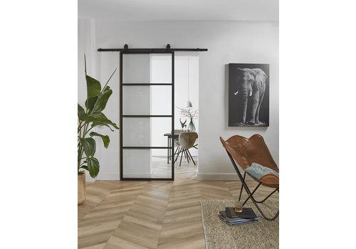DIY porte coulissante cubo noir avec verre transparent 235x980x28mm avec système de suspension noir basic top