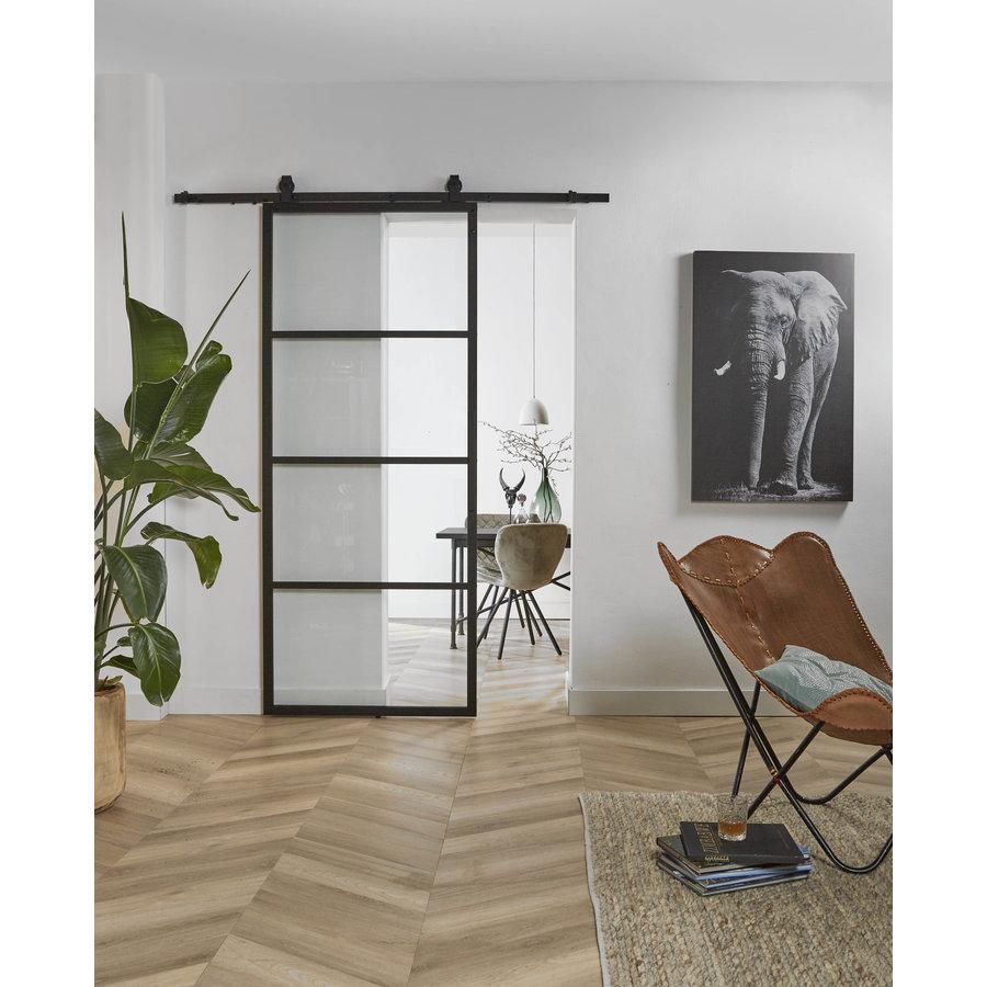 DIY schuifdeur cubo zwart incl. transparant glas 235x980x28mm met zwart ophangsysteem basic top