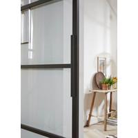 DIY SLIDING DOOR CUBO BLACK INCL. TRANSPARENT GLASS 2350X980X28MM + BLACK HANGING SYSTEM BASIC TOP