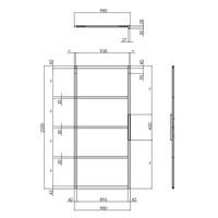 DIY SLIDING DOOR CUBO BLACK INCL. MATT GLASS 2350X980X28MM + BLACK HANGING SYSTEM BASIC TOP