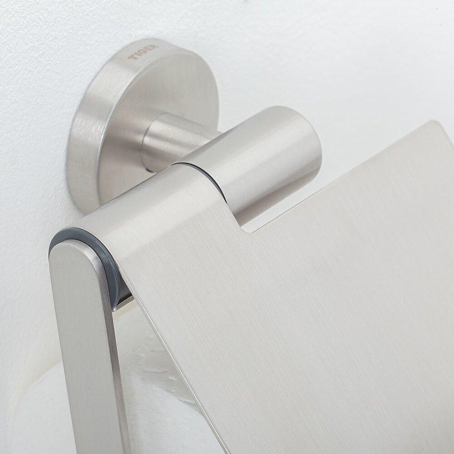 Tiger Boston Porte-rouleau papier toilette avec couvercle Acier inoxydable brossé
