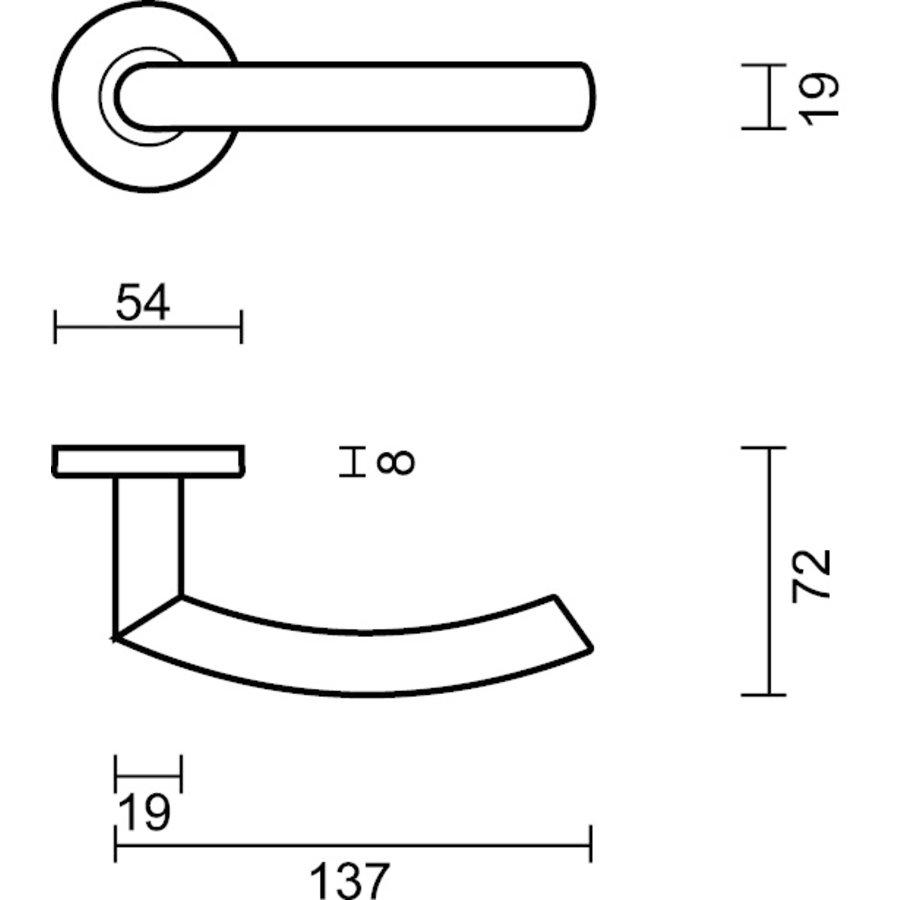 DEURKRUK OVAL C SHAPE ZWART + CYL