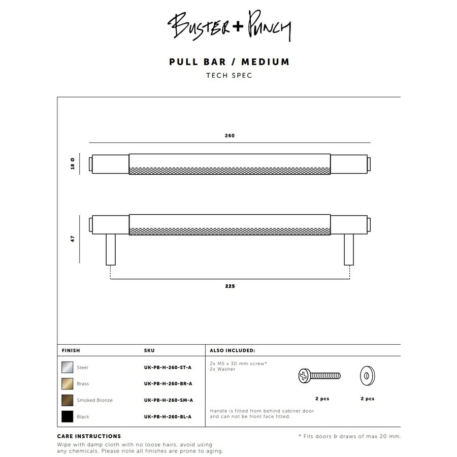 Zwarte meubelgreep / medium / 260mm / Buster&Punch