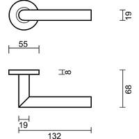 Zwarte deurklinken 'I Shape 19mm' class 3  met sleutelplaatjes