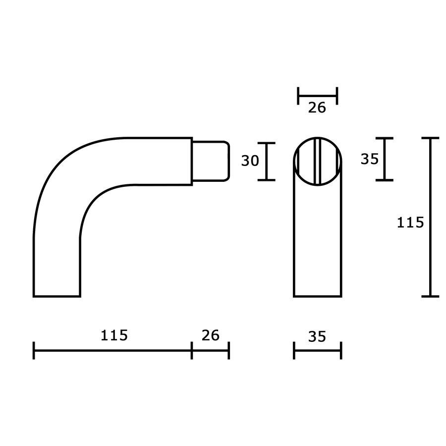 Koppelstuk bocht 90°  met 1 verbinding