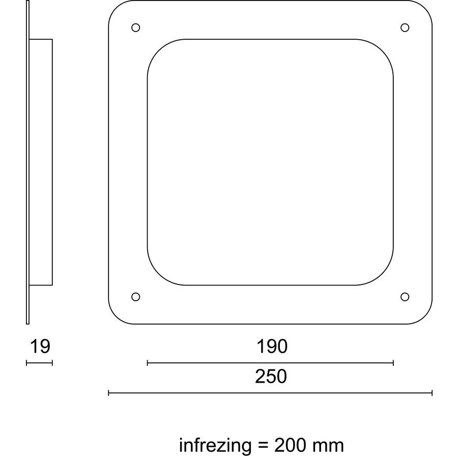 Vierkante patrijspoort 200mm RVS zonder schroefgaten