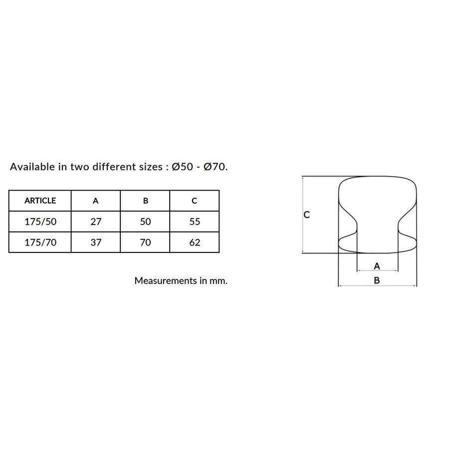 Ronde voordeurknop  vlak Ø70mm met éénzijdige montage aluminium zwart