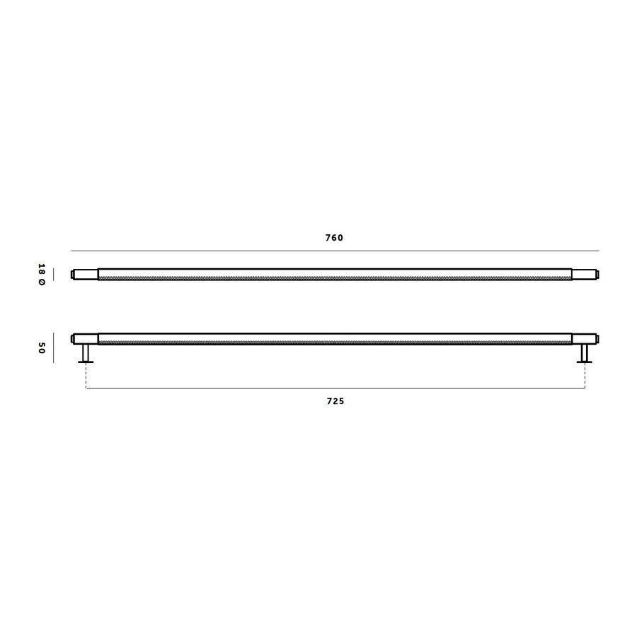 Massieve RVS kastgreep van Buster en Punch - totale lengte 760 mm - Closet Bar rvs B+P