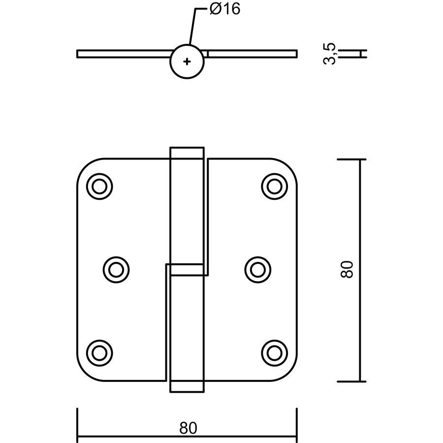 Paumelle 100x88x3,5mm RVS 201 links