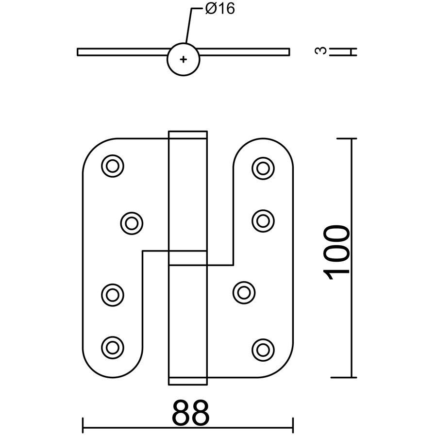 Zwarte paumelle 100x88x3,5mm Links  (=DIN rechts)