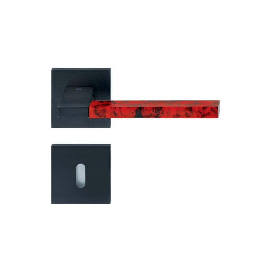 Zwarte deurklinken 'Change02 + ins12' met bijhorende sleutelplaatjes