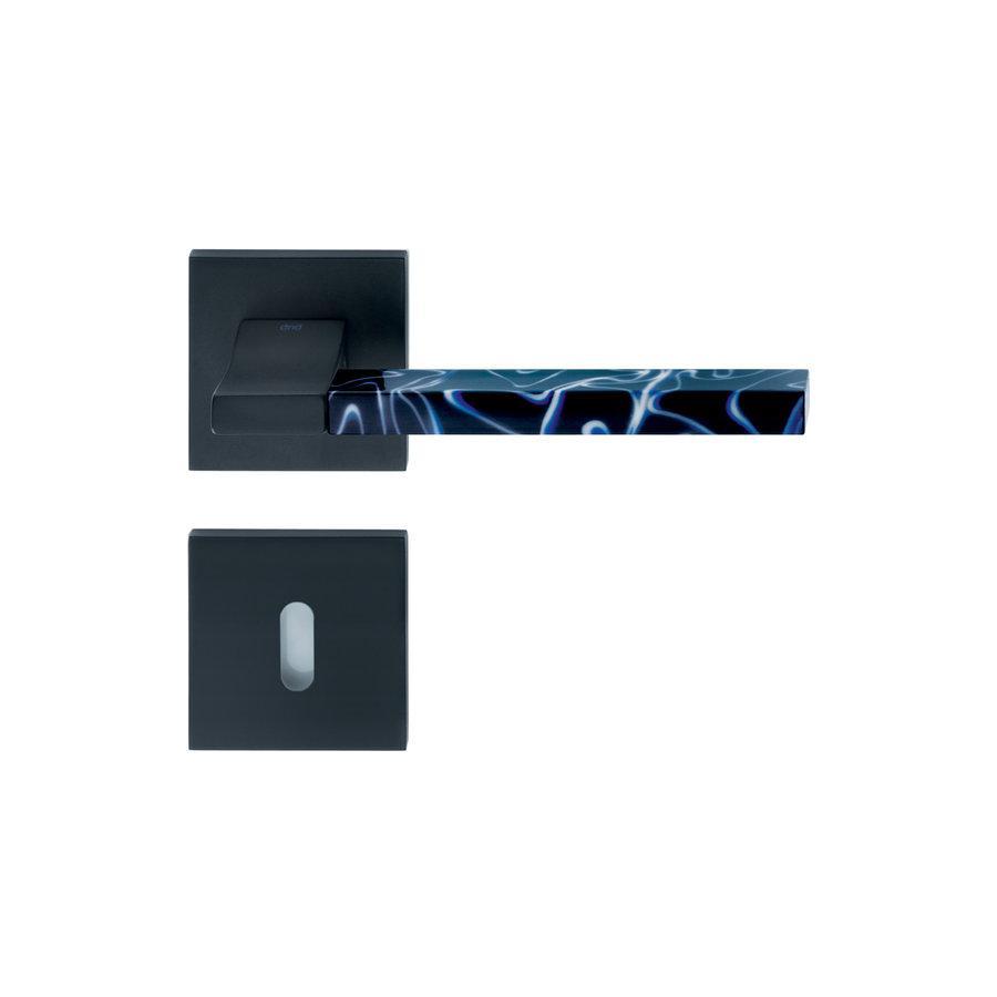 Deurkruk 'Change02 + ins14' zwart met bijhorende sleutelplaatjes