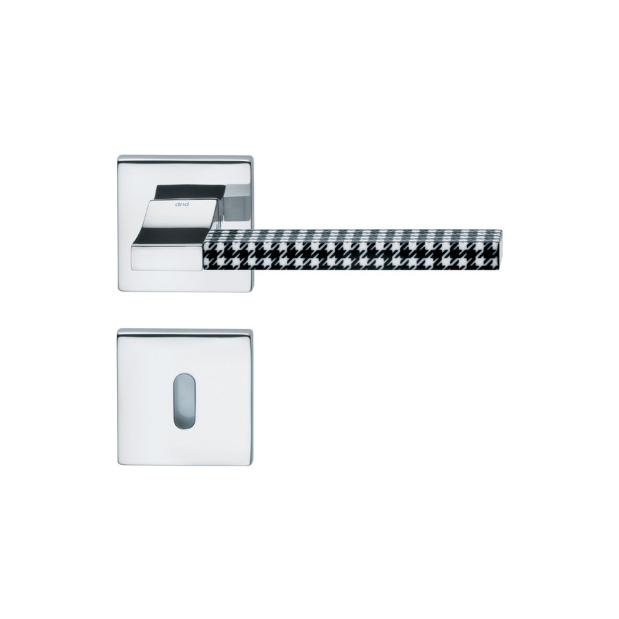 Gepolijste Chrome deurkruk 'Change02 + ins06'  met bijhorende sleutelplaatjes