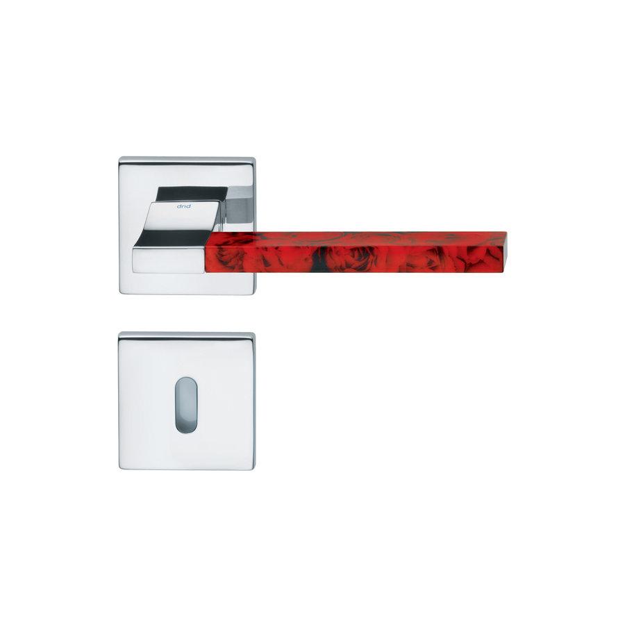 Gepolijste Chrome deurkruk 'Change02 + ins12'  met bijhorende sleutelplaatjes