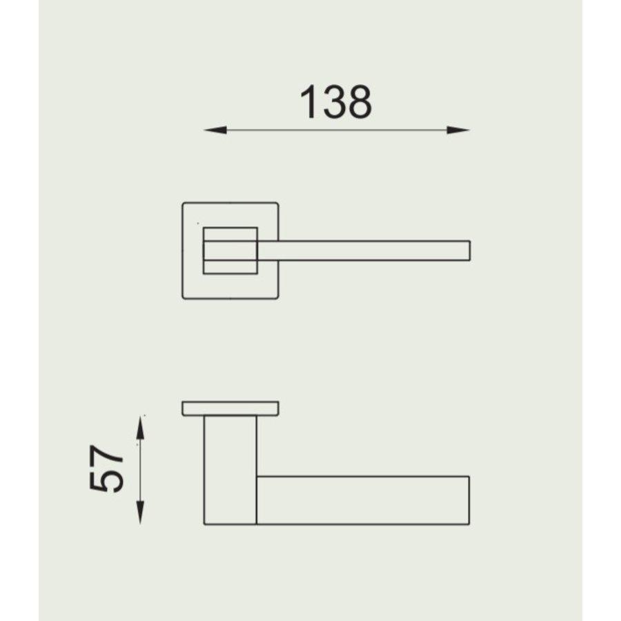 Gepolijste Chrome deurkruk 'Change02 + ins14'  met bijhorende sleutelplaatjes