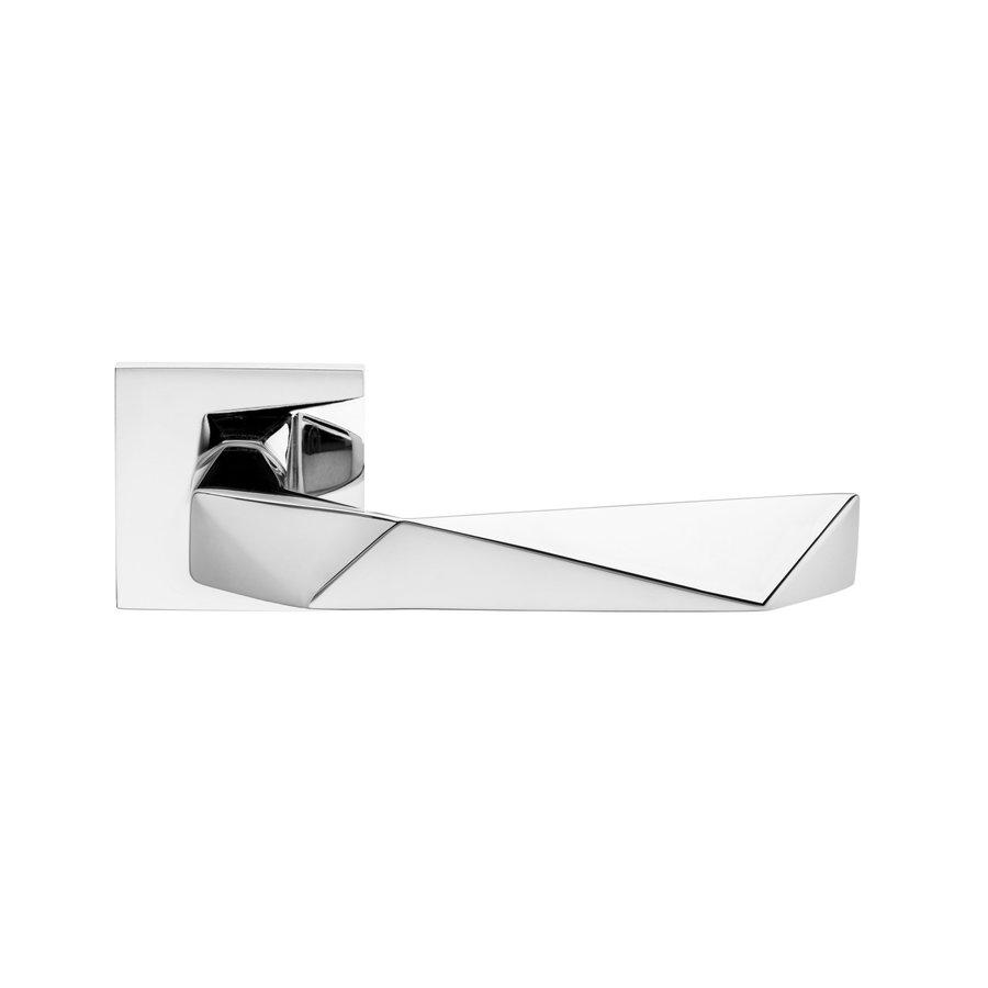 Deurklinken Luxury 02 op vierkante rozetten in chroom