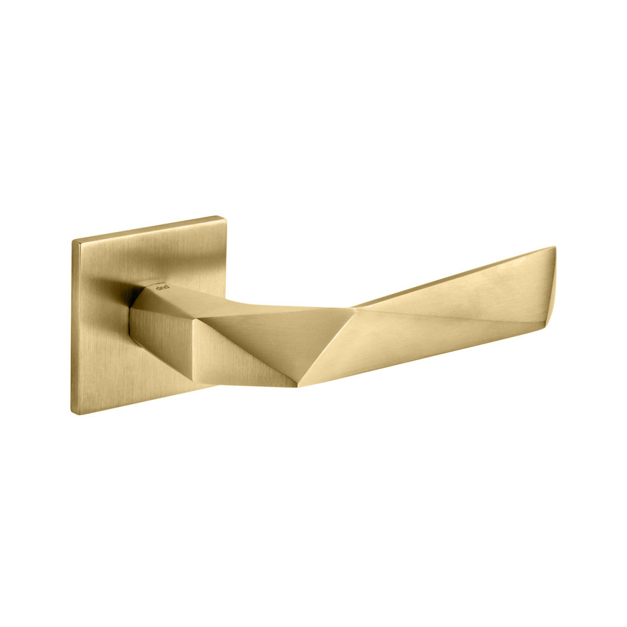Deurklinken Luxury 02 op vierkante rozetten in mat goud PVD