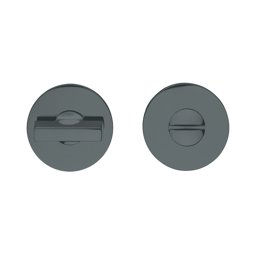 Zwart wc garnituur rond voor deurkruk 'Luce 4mm'