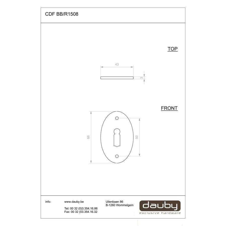 Paar sleutelplaatjes zwart voor CDF deurklink BE1212/R1508