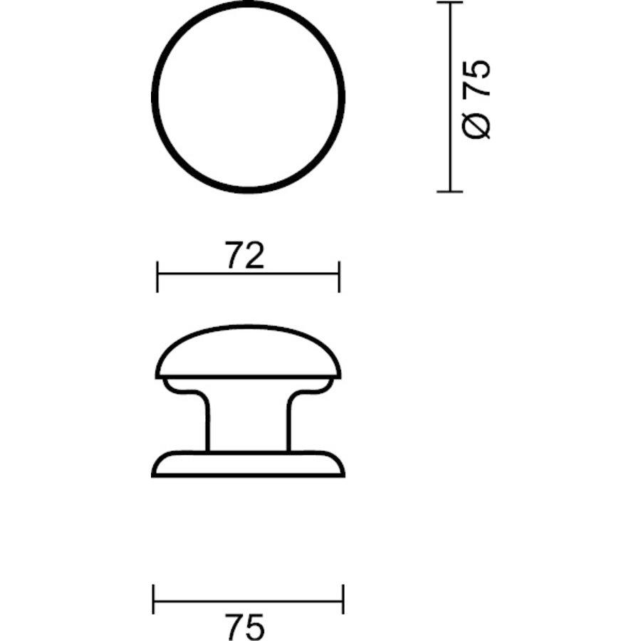 Zwarte vaste knop 'Top 805'  paar voor glazen deur