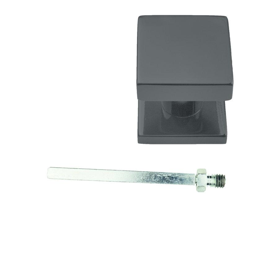 Zwarte knop 'Top Carre' op rozas mat zwart