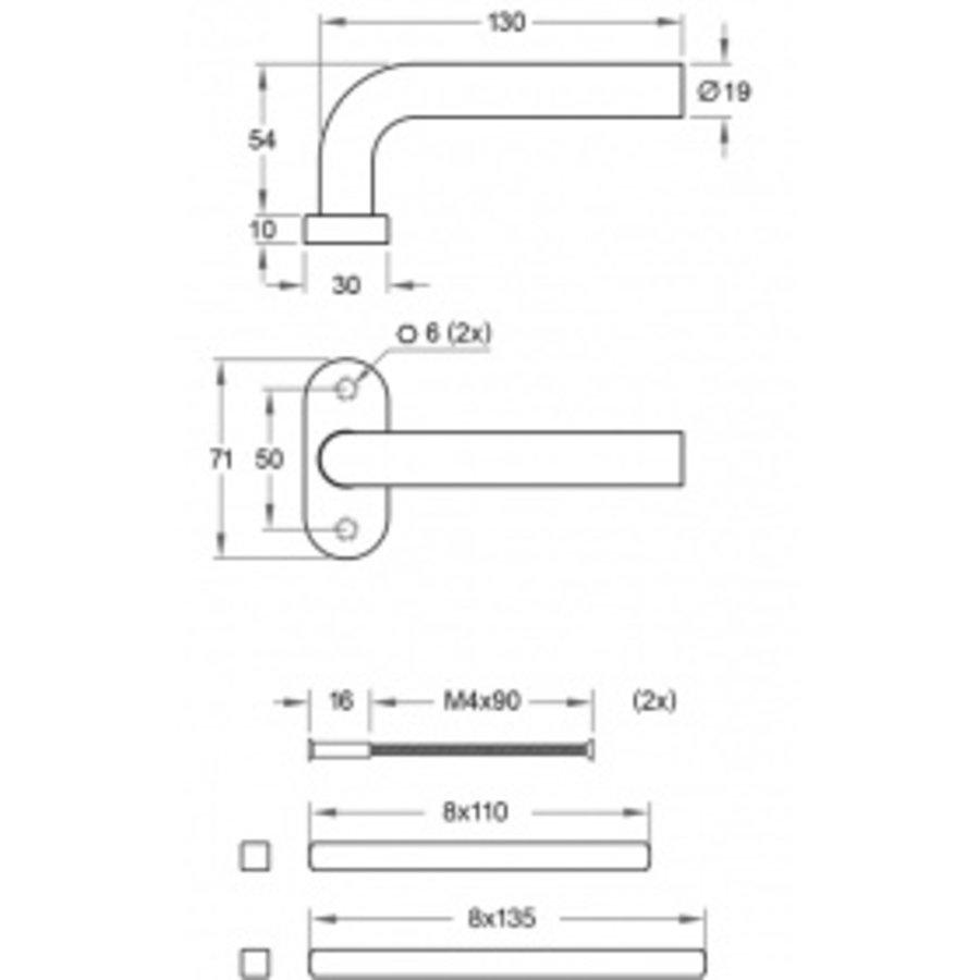 Deurklink LIDO zwart op ovale rozetten en PC cilinderplaatjes