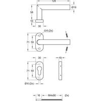 Deurklink TIPO zwart met rechte hoek op ovale rozetten en PZ cilinderplaatjes