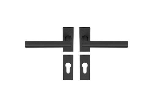 Poignée de porte TIPO rosace rectangulaire noire PC