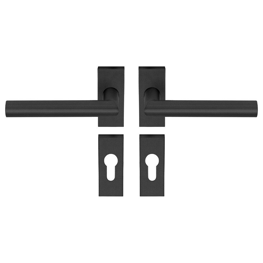 Deurklink TIPO zwart met rechte hoek op rechthoekig rozetten en PC cilinderplaatjes