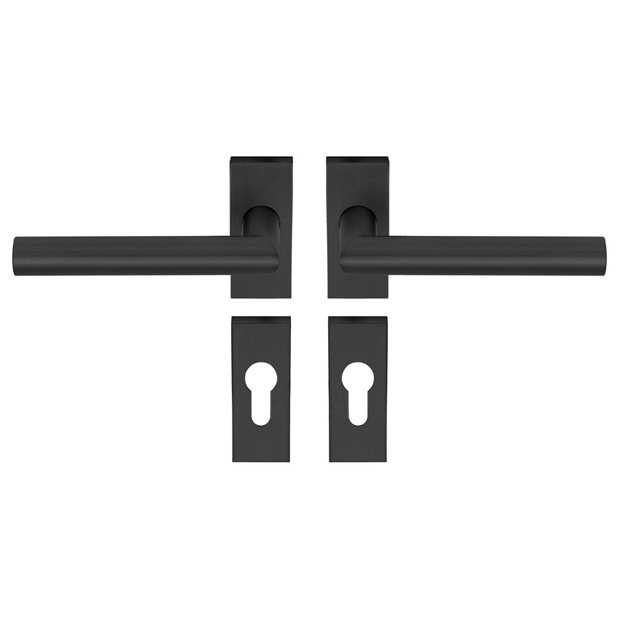 Door handle TIPO black with right angle on rectangular rosettes and PC cylinder plates
