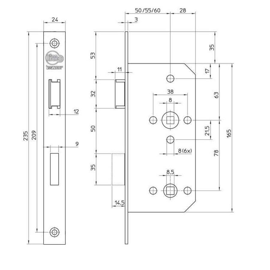 Litto project WC-slot E6 - asmaat 78mm - doorn 50 - rechte voorplaat 235x24mm