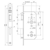 Litto project WC-slot E6 - asmaat 78mm - doorn 55 - rechte voorplaat 235x24mm