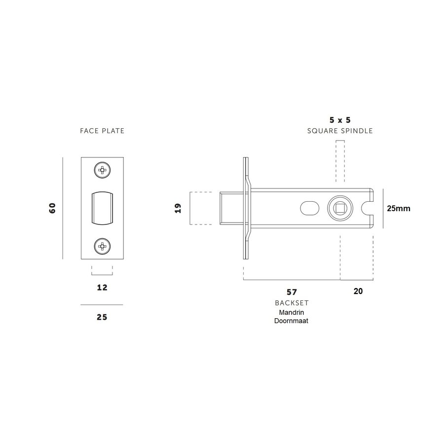 Small toilet lock with stainless steel front plate 25x60mm - mandrel 57mm - pin hole 5x5mm