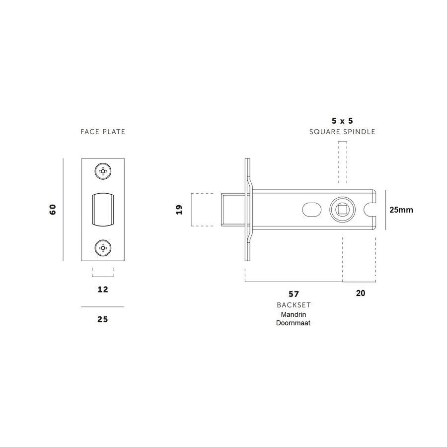 Zwart toilet slot met voorplaat 25x60mm - doorn 57mm - stiftgat 5x5mm
