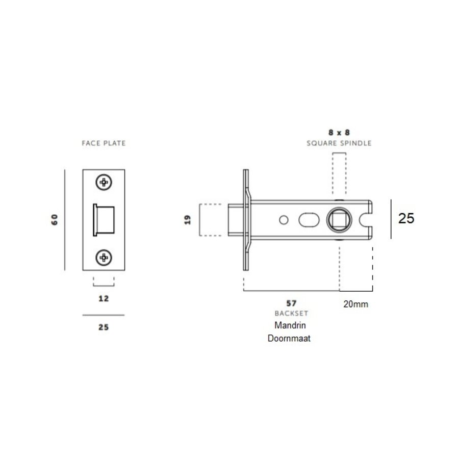 Small lock with stainless steel front plate 25x60mm and mandrel 57mm