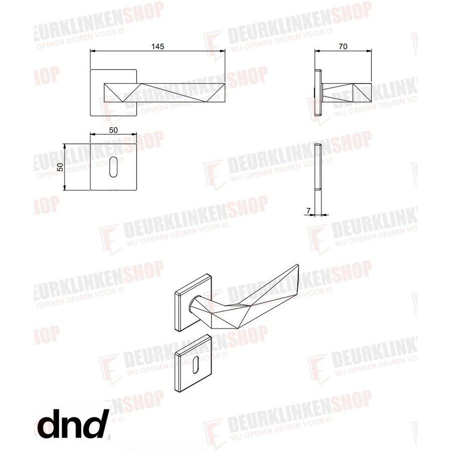 DnD deurklinken Luxury 02 op vierkante rozetten in mat goud PVD zonder sleutelplaatjes
